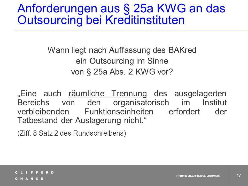 Anforderungen aus § 25a KWG an das Outsourcing bei Kreditinstituten