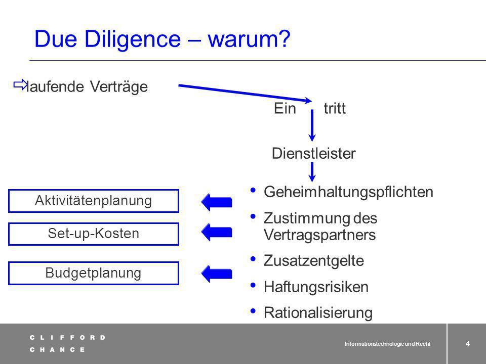 Due Diligence – warum laufende Verträge tritt Dienstleister