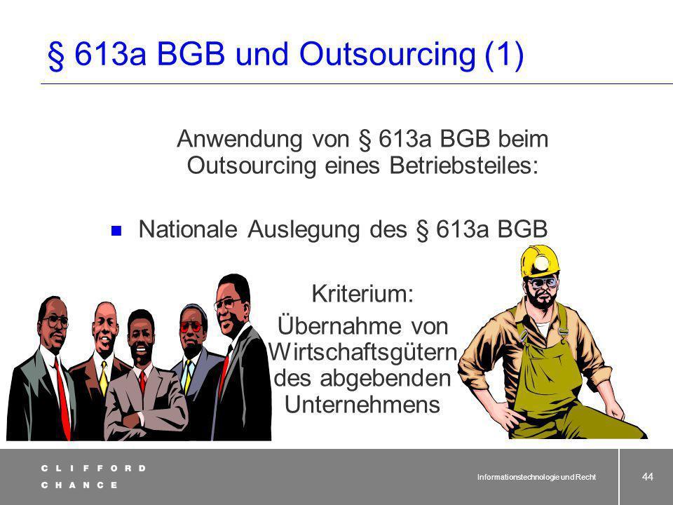 § 613a BGB und Outsourcing (1)