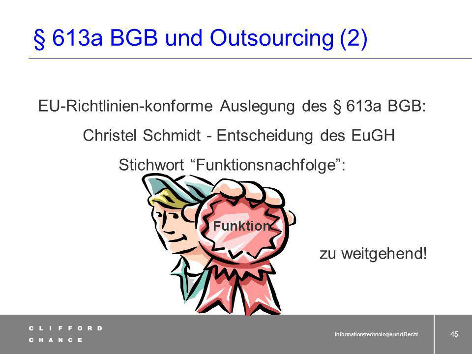 § 613a BGB und Outsourcing (2)