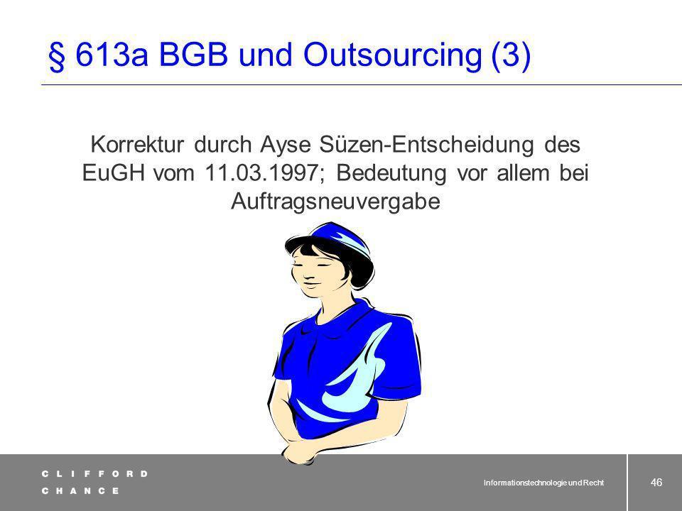 § 613a BGB und Outsourcing (3)