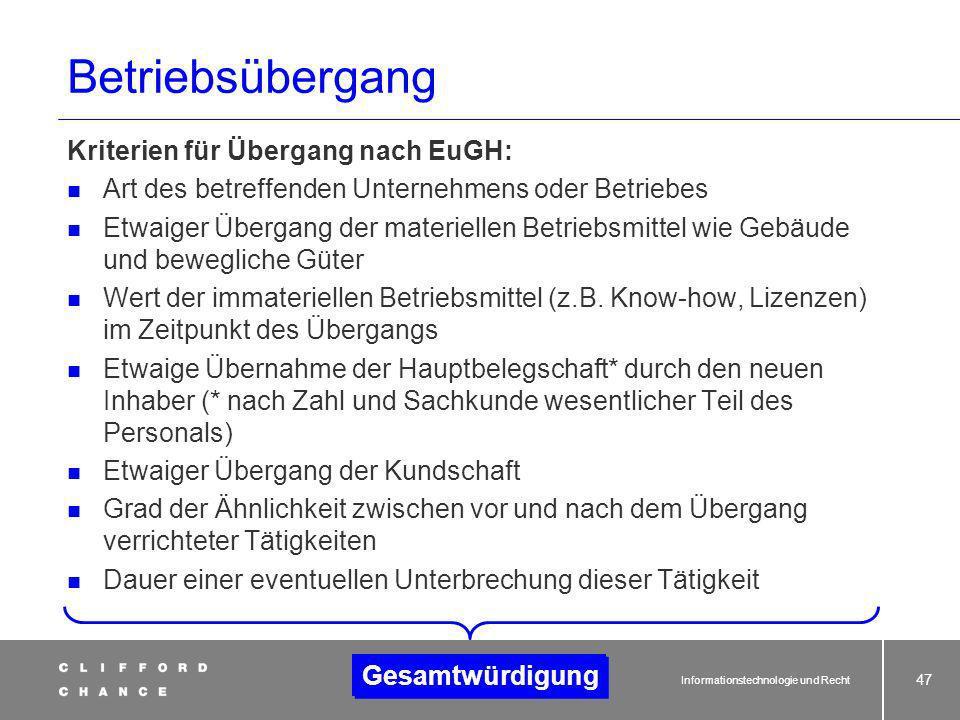 Betriebsübergang Kriterien für Übergang nach EuGH: