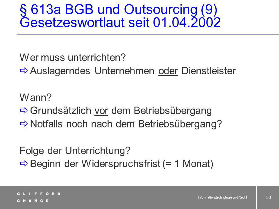 § 613a BGB und Outsourcing (9) Gesetzeswortlaut seit 01.04.2002