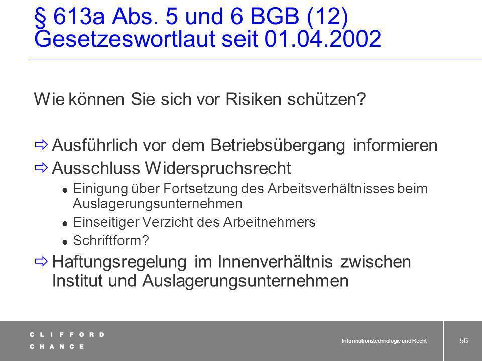 § 613a Abs. 5 und 6 BGB (12) Gesetzeswortlaut seit 01.04.2002