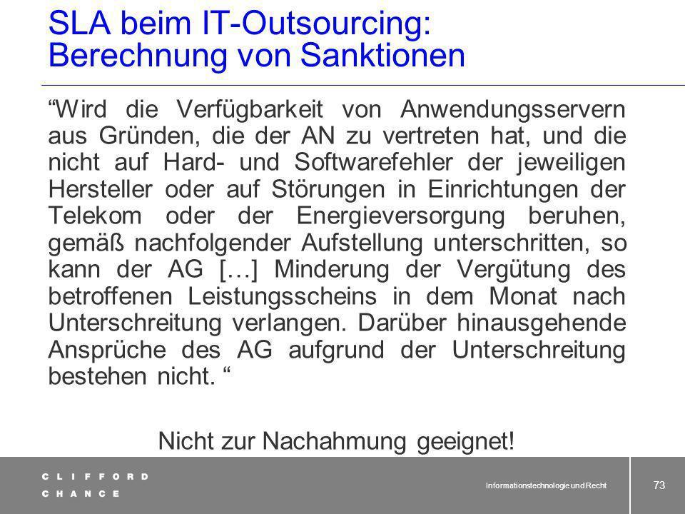 SLA beim IT-Outsourcing: Berechnung von Sanktionen