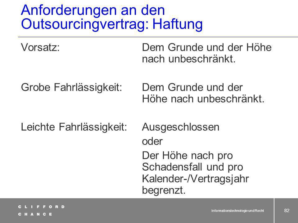 Anforderungen an den Outsourcingvertrag: Haftung