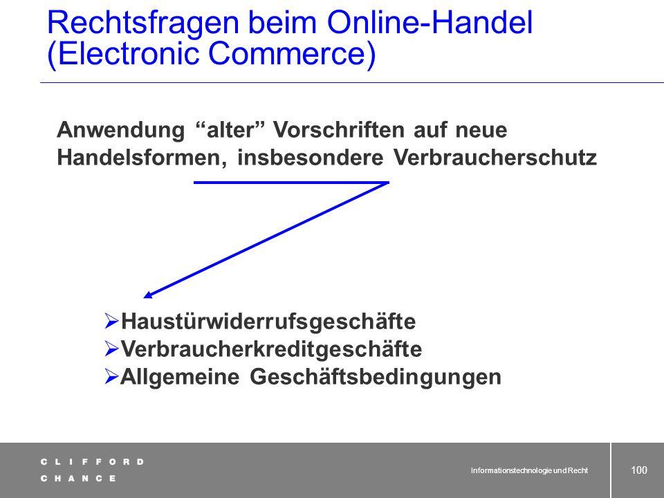 Rechtsfragen beim Online-Handel (Electronic Commerce)