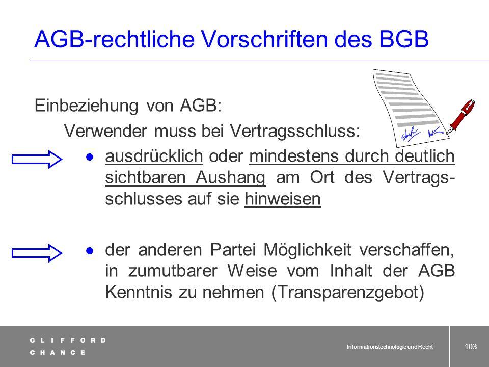 AGB-rechtliche Vorschriften des BGB