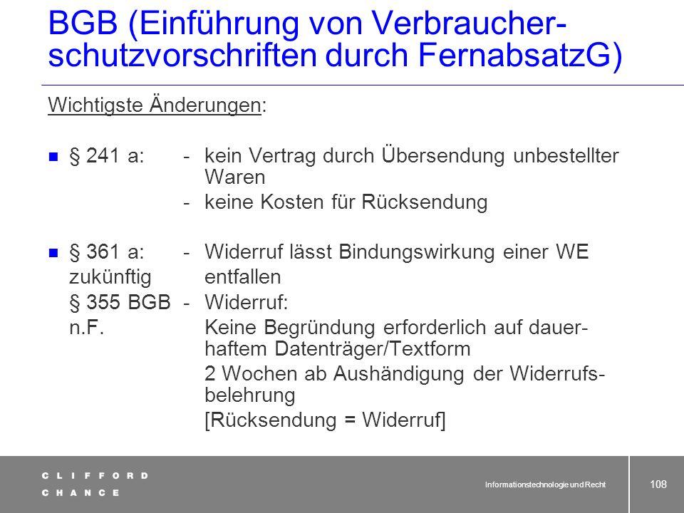 BGB (Einführung von Verbraucher-schutzvorschriften durch FernabsatzG)