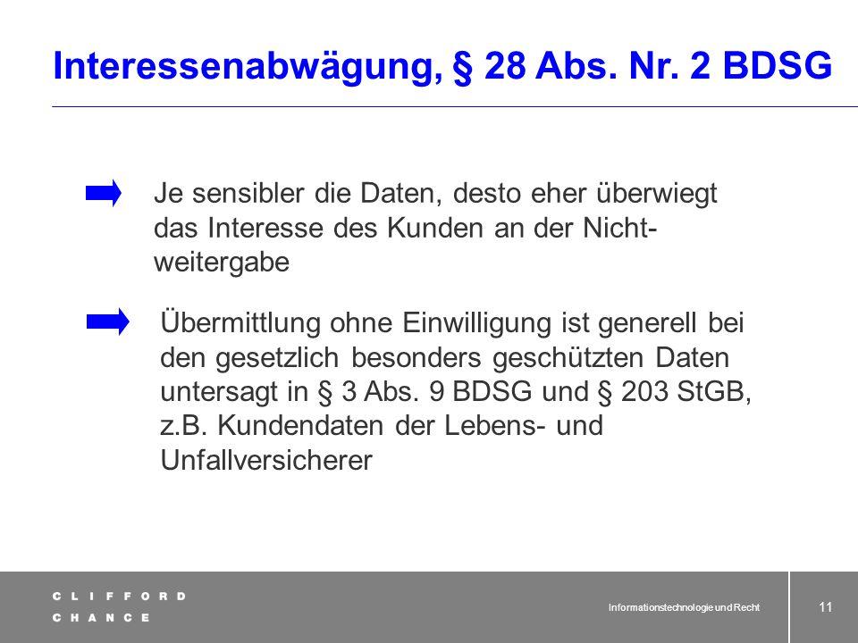 Interessenabwägung, § 28 Abs. Nr. 2 BDSG