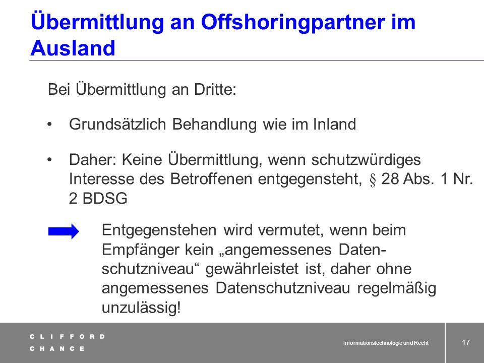 Übermittlung an Offshoringpartner im Ausland
