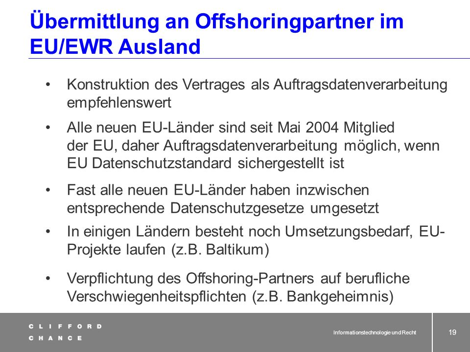 Übermittlung an Offshoringpartner im EU/EWR Ausland