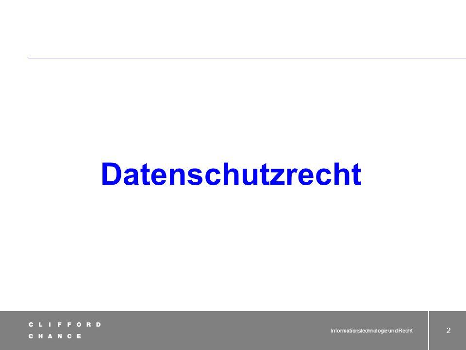 Datenschutzrecht Informationstechnologie und Recht