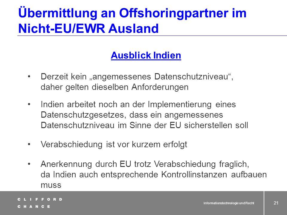 Übermittlung an Offshoringpartner im Nicht-EU/EWR Ausland