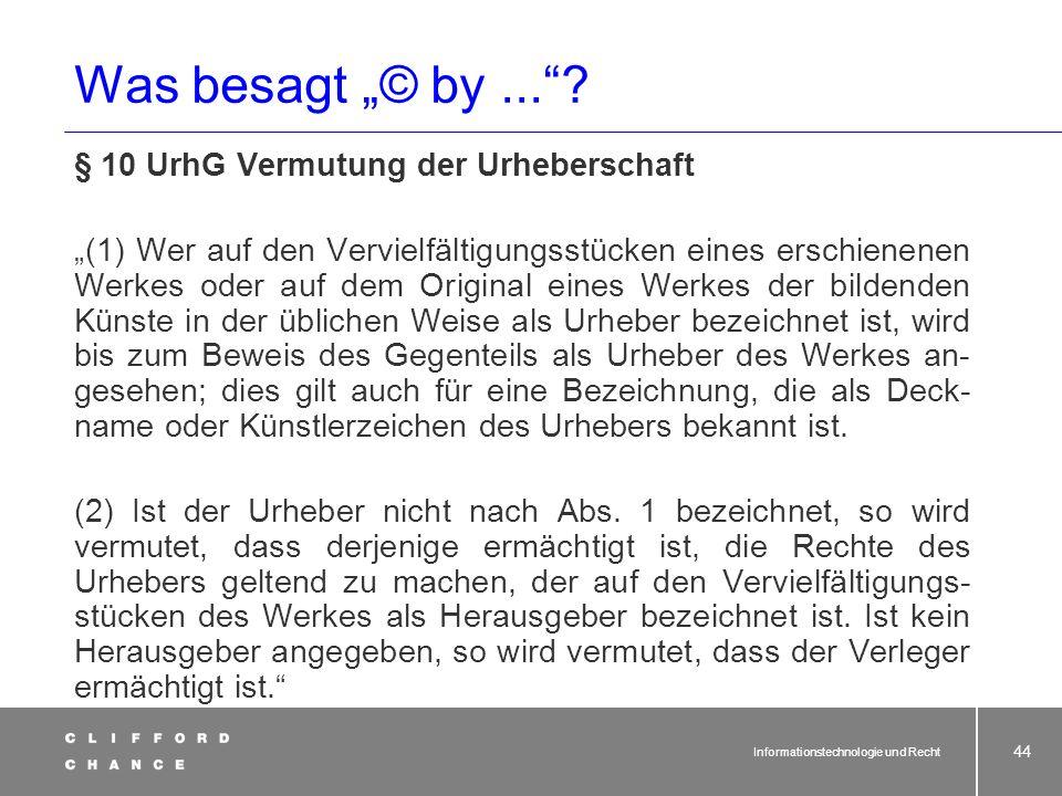"""Was besagt """"© by ... § 10 UrhG Vermutung der Urheberschaft"""