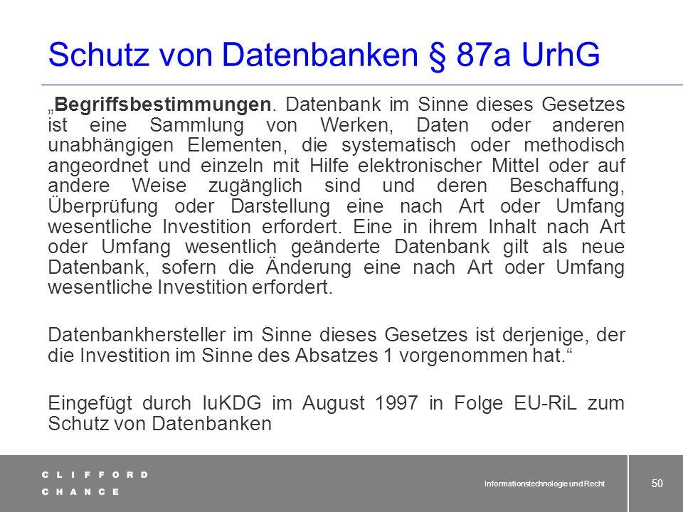 Schutz von Datenbanken § 87a UrhG