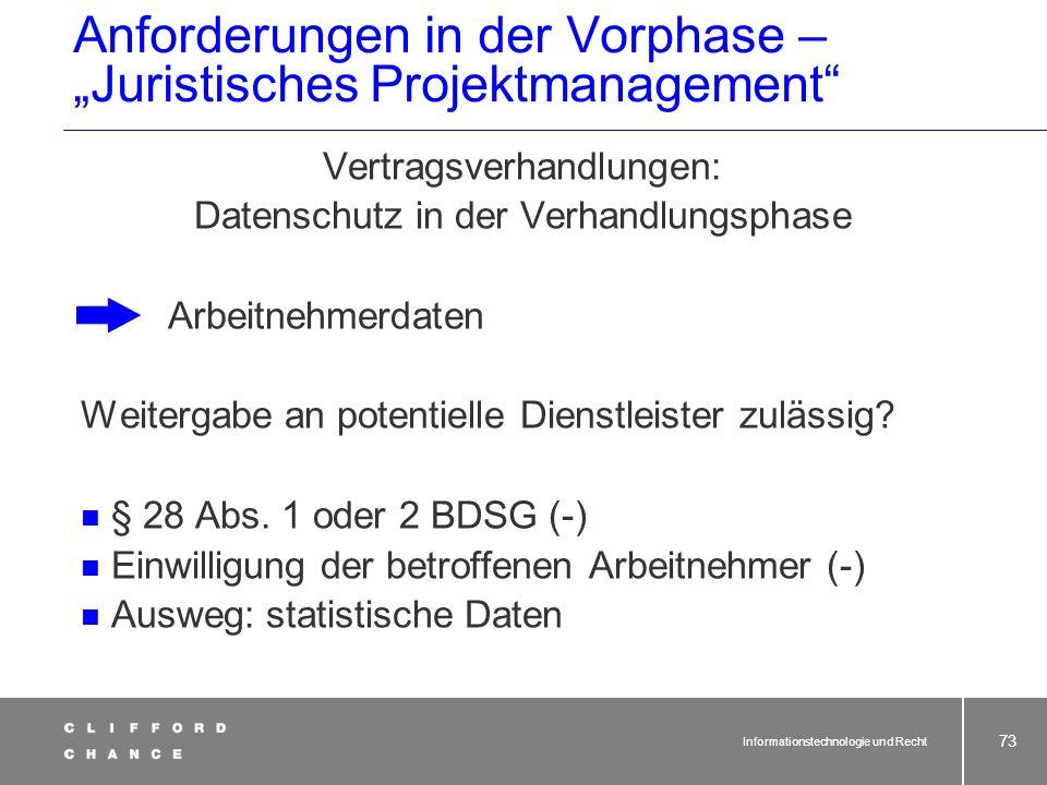 """Anforderungen in der Vorphase – """"Juristisches Projektmanagement"""