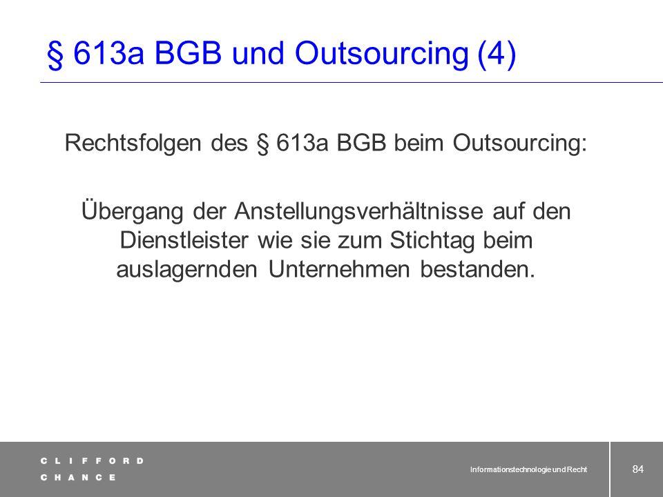 § 613a BGB und Outsourcing (4)