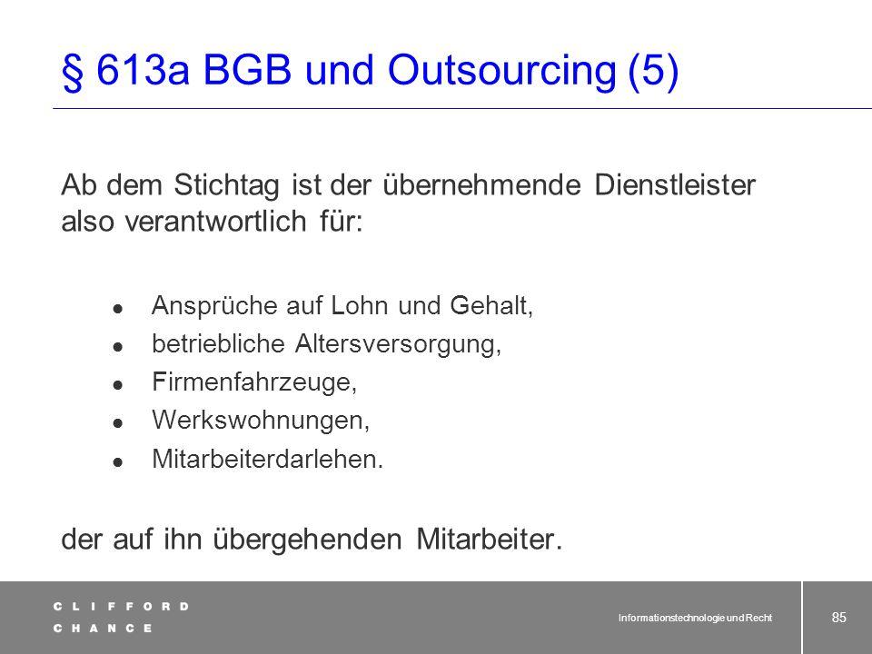 § 613a BGB und Outsourcing (5)