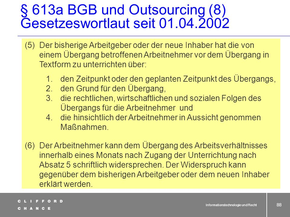 § 613a BGB und Outsourcing (8) Gesetzeswortlaut seit 01.04.2002