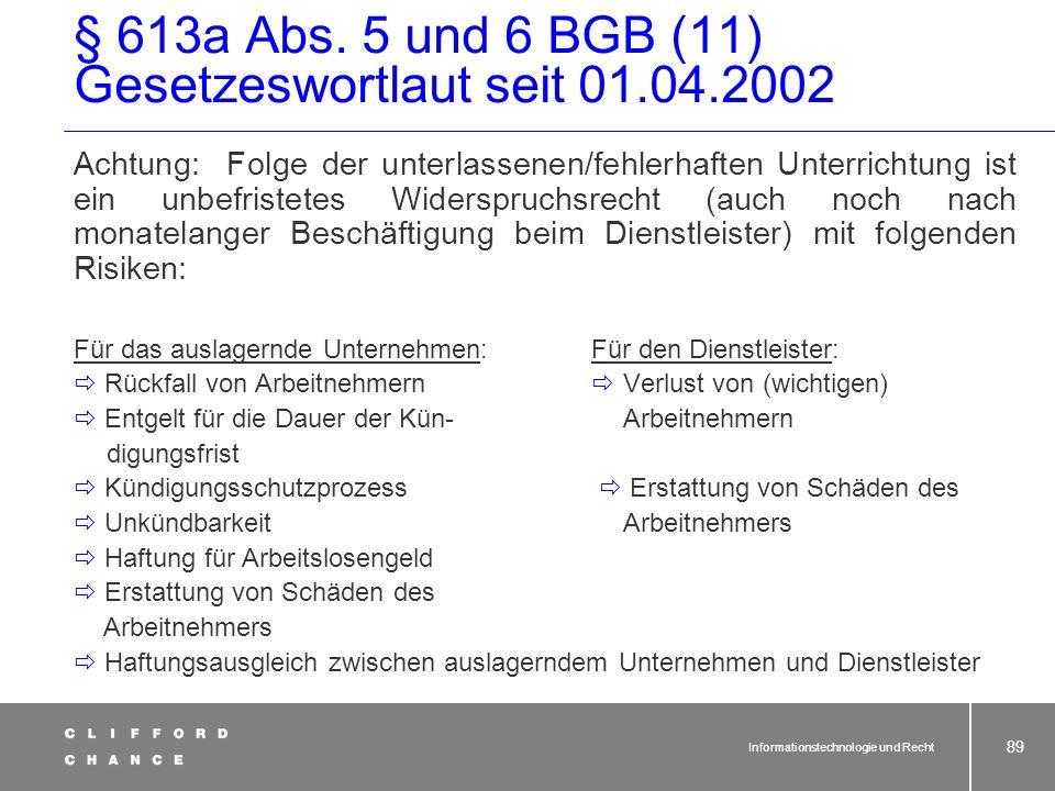 § 613a Abs. 5 und 6 BGB (11) Gesetzeswortlaut seit 01.04.2002