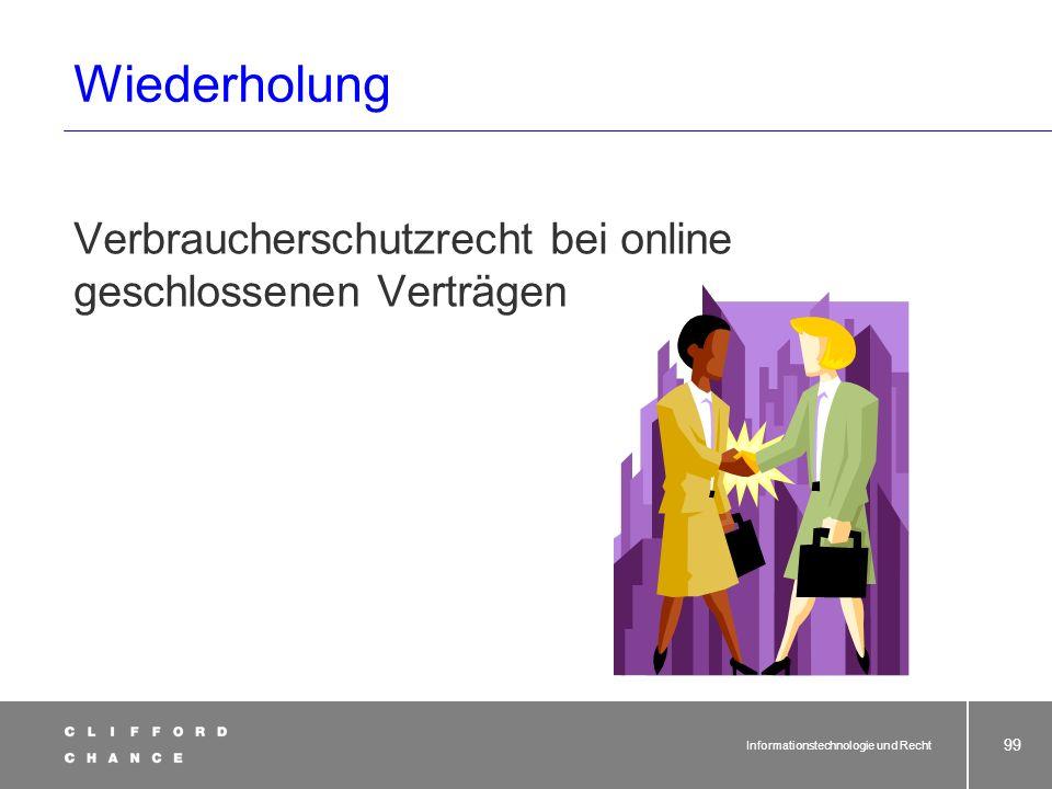 Wiederholung Verbraucherschutzrecht bei online geschlossenen Verträgen