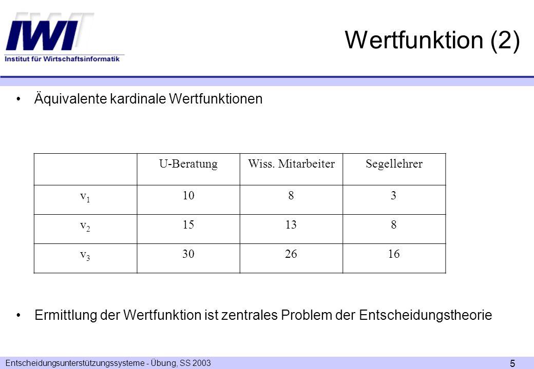Wertfunktion (2) Äquivalente kardinale Wertfunktionen