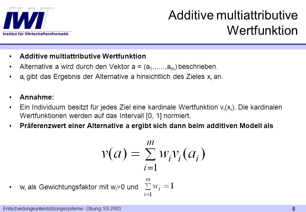 Additive multiattributive Wertfunktion