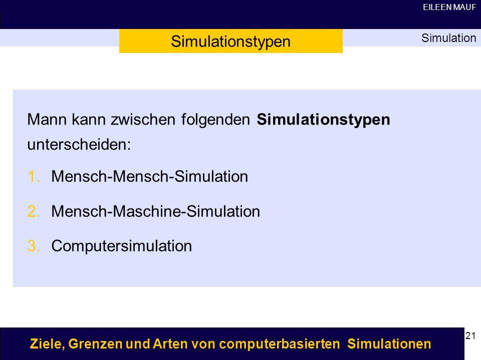 Mann kann zwischen folgenden Simulationstypen unterscheiden: