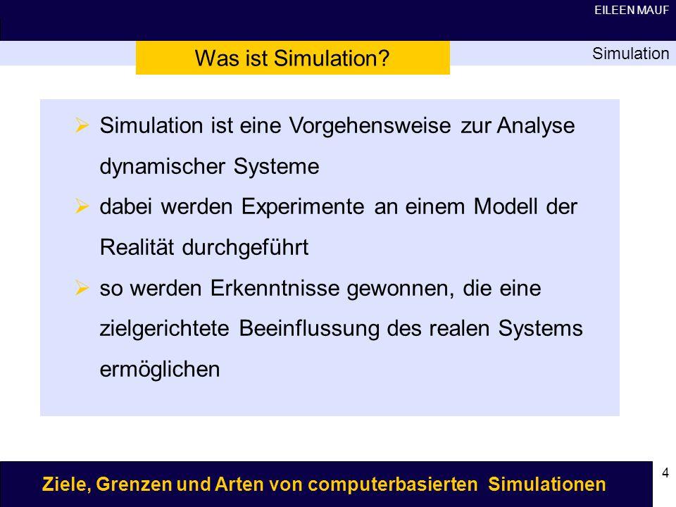 Simulation ist eine Vorgehensweise zur Analyse dynamischer Systeme