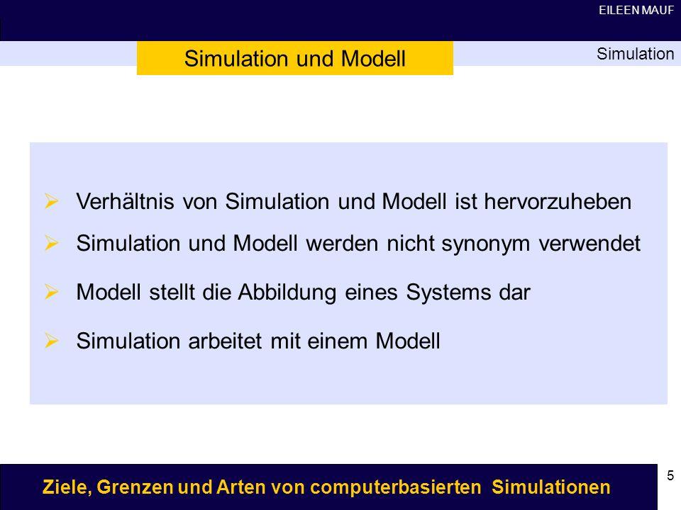 Verhältnis von Simulation und Modell ist hervorzuheben
