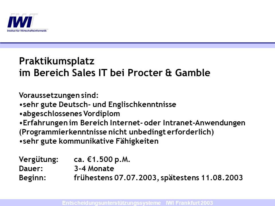 Entscheidungsunterstützungssysteme IWI Frankfurt 2003