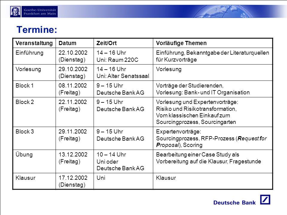 Termine: Veranstaltung Datum Zeit/Ort Vorläufige Themen Einführung