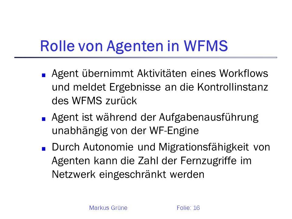 Rolle von Agenten in WFMS