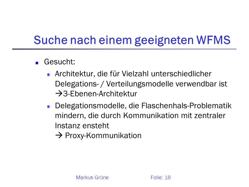 Suche nach einem geeigneten WFMS