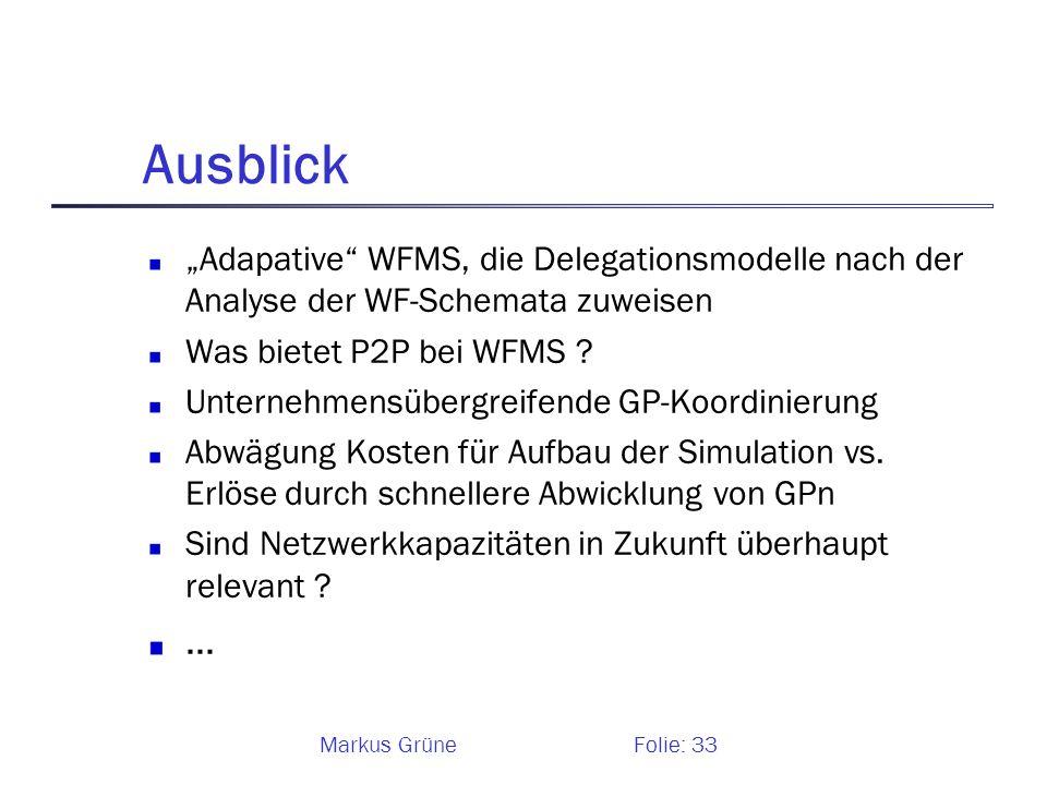 """Ausblick """"Adapative WFMS, die Delegationsmodelle nach der Analyse der WF-Schemata zuweisen. Was bietet P2P bei WFMS"""