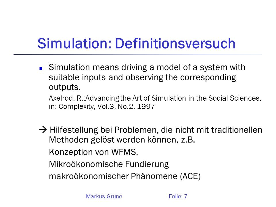 Simulation: Definitionsversuch
