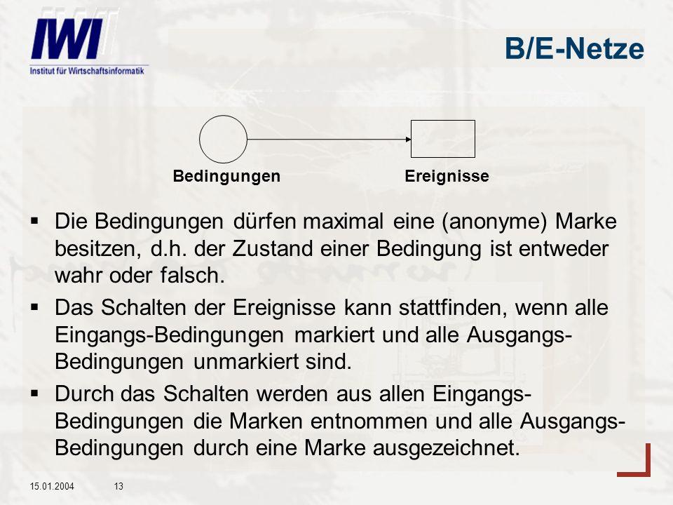 B/E-Netze Die Bedingungen dürfen maximal eine (anonyme) Marke besitzen, d.h. der Zustand einer Bedingung ist entweder wahr oder falsch.