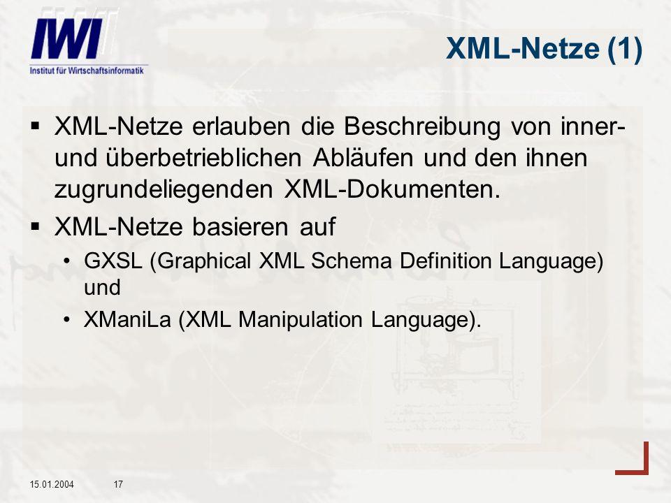XML-Netze (1) XML-Netze erlauben die Beschreibung von inner- und überbetrieblichen Abläufen und den ihnen zugrundeliegenden XML-Dokumenten.