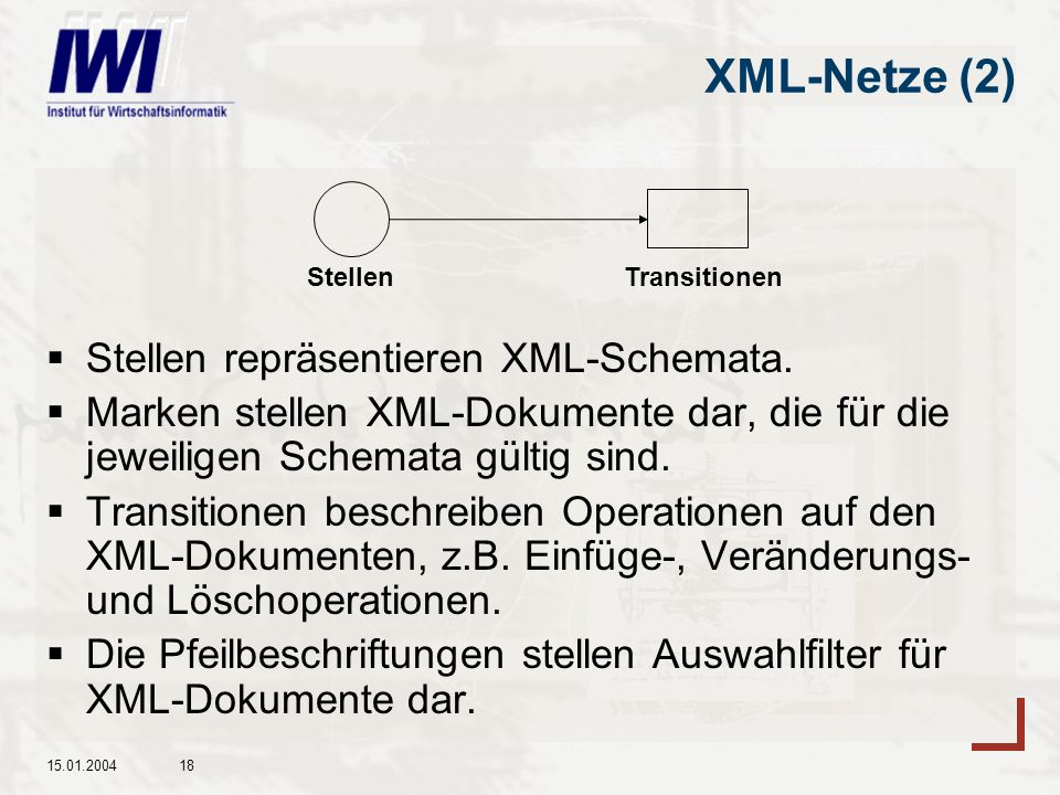 XML-Netze (2) Stellen repräsentieren XML-Schemata.