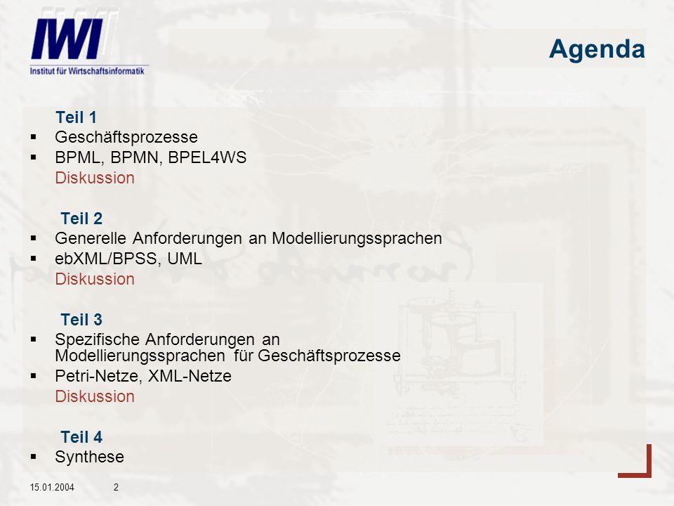 Agenda Teil 1 Geschäftsprozesse BPML, BPMN, BPEL4WS Diskussion Teil 2