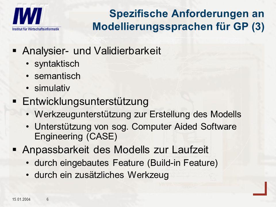 Spezifische Anforderungen an Modellierungssprachen für GP (3)