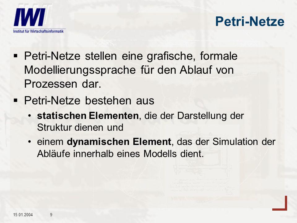 Petri-Netze Petri-Netze stellen eine grafische, formale Modellierungssprache für den Ablauf von Prozessen dar.