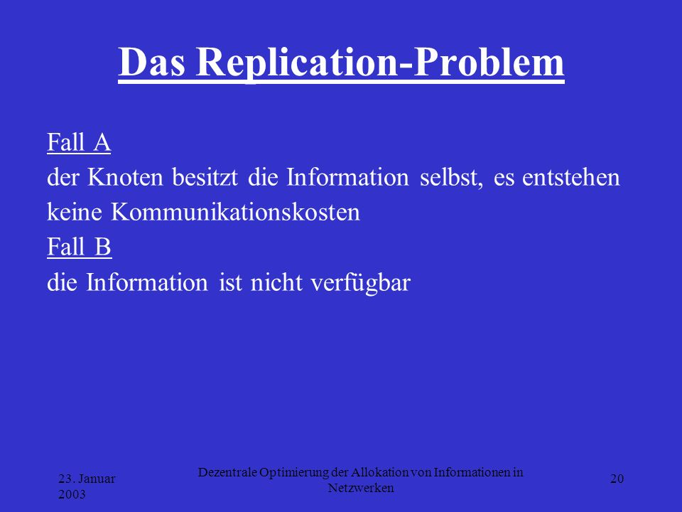 Das Replication-Problem