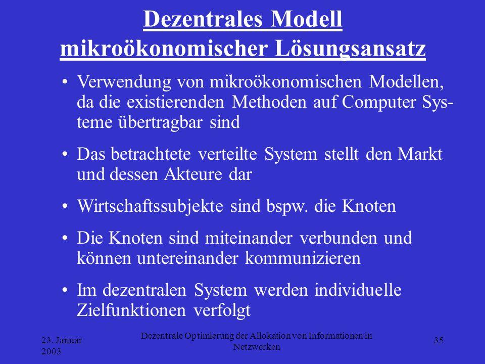 Dezentrales Modell mikroökonomischer Lösungsansatz