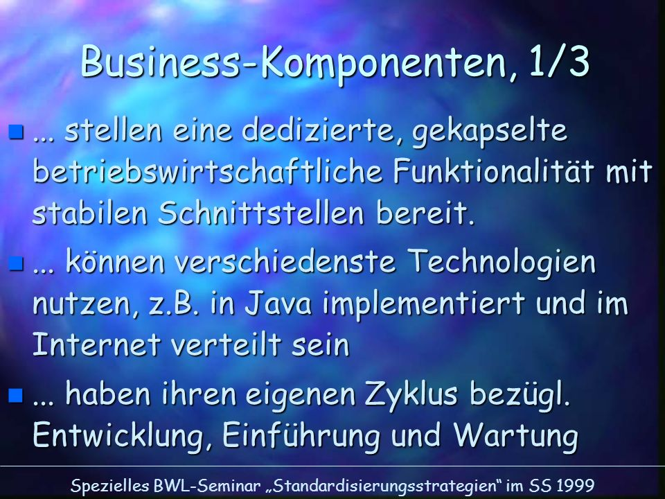 Business-Komponenten, 1/3