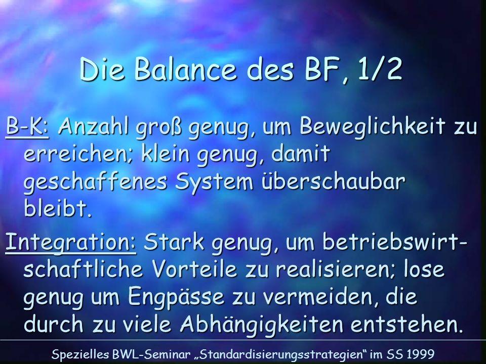 Die Balance des BF, 1/2 B-K: Anzahl groß genug, um Beweglichkeit zu erreichen; klein genug, damit geschaffenes System überschaubar bleibt.