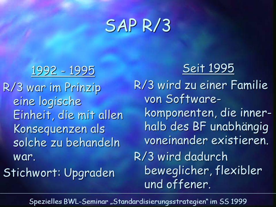SAP R/3 Seit 1995. R/3 wird zu einer Familie von Software-komponenten, die inner-halb des BF unabhängig voneinander existieren.
