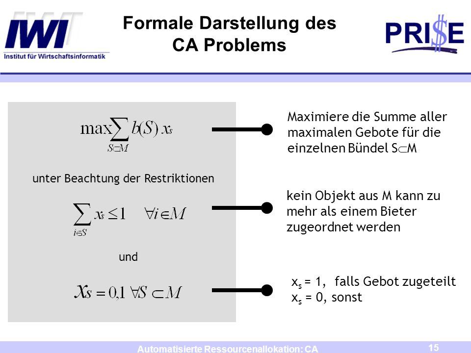Formale Darstellung des CA Problems
