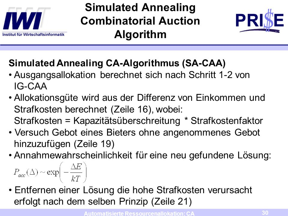 Simulated Annealing Combinatorial Auction Algorithm